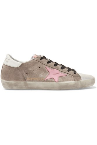Golden Goose Deluxe Brand Superstar Distressed Glittered Suede And Leather Sneakers Silver 4pKpbxST