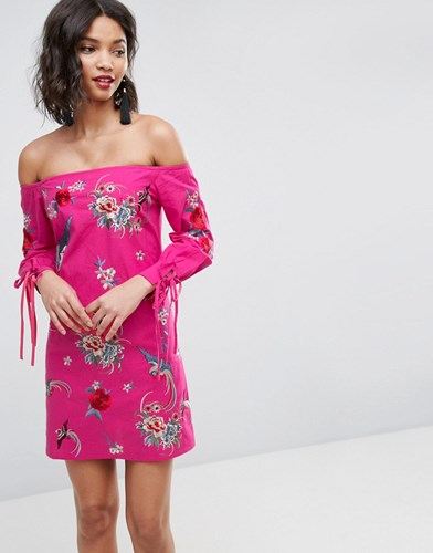 Asos Premium Off Shoulder Embroidery Mini Dress With Cuff Ties Pink p1qurGIOp