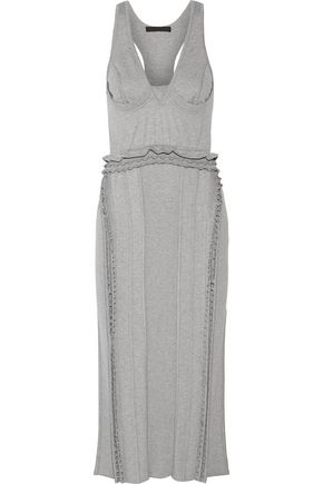 Alexander Wang Ruffle Trimmed Ribbed Stretch Jersey Dress Gray ZXfz5Q