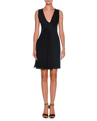 Giorgio Armani V Neck Sleeveless Crepe Short Dress W Chiffon Ruching Navy 4AsBe0