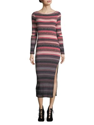 French Connection Bintan Degrade Rib Jersey Dress Red Multi aDjNvxZRWW