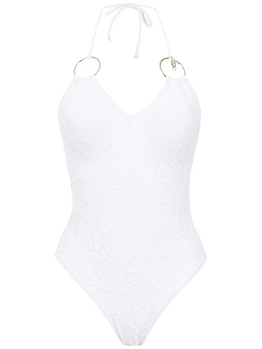 Swimsuit With Metallic Details White