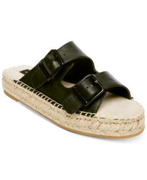 Steve Madden Steven By Lapis Espadrille Sandals Black Leather lYxUEhCl