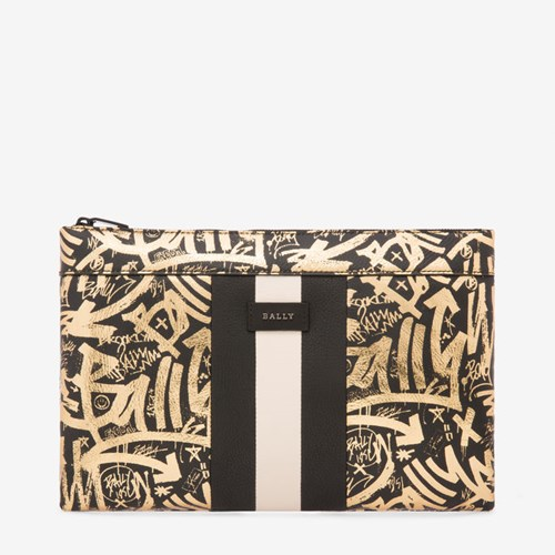 Clutch Bally And Black Men's Leather Gold Sheep In Laminated Bag qrxISrwUP