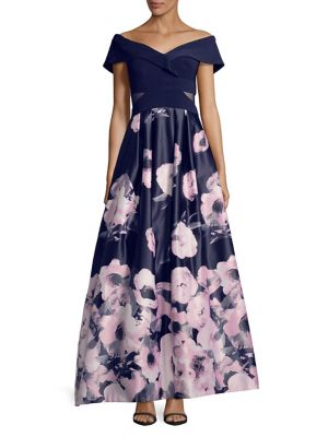de Lilas The Evenings Xscape marine Shoulder soirée Off longue Floral Robe wOvqxRYUq