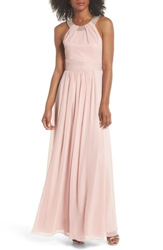 Eliza J Beaded Halter Gown Blush PTwjU