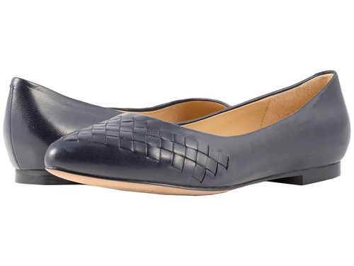 Trotters Estee Woven Navy Woven Leather Flat Shoes Black 0uVjg3