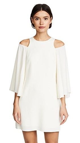 Halston Heritage Bell Sleeve Shift Dress Cream ZHdbCFb