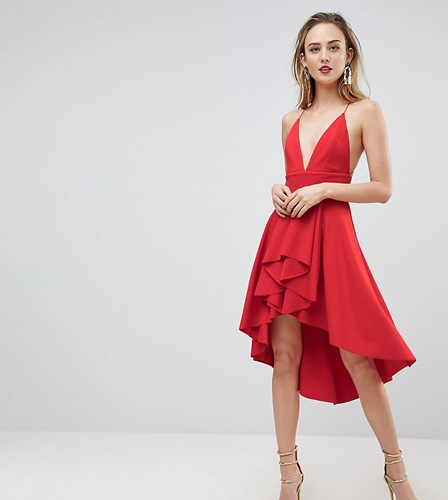 Asos Tall Cami Deep Plunge Skater Mini Dress Red AJolApqWB