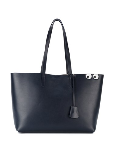 Anya Hindmarch Leather Shopper With Eyes Leather Blue JFm8fGUXdL