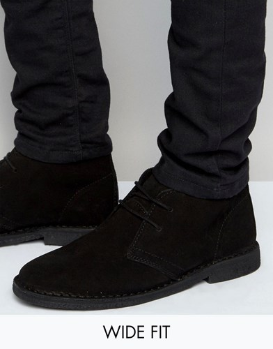 Asos Wide Fit Desert Boots In Black Suede Black h2xoy