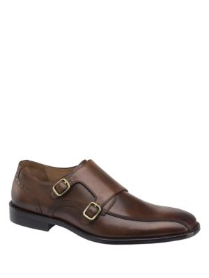 Johnston & Murphy Knowland Double Monk Calfskin Leather Oxfords Mahogany SBFXy9qn