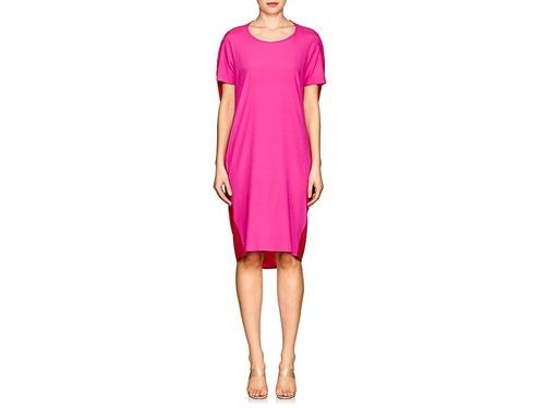 Zero Maria Cornejo Pod Colorblocked Silk Dress Fuschia Poppy NGmOJ1