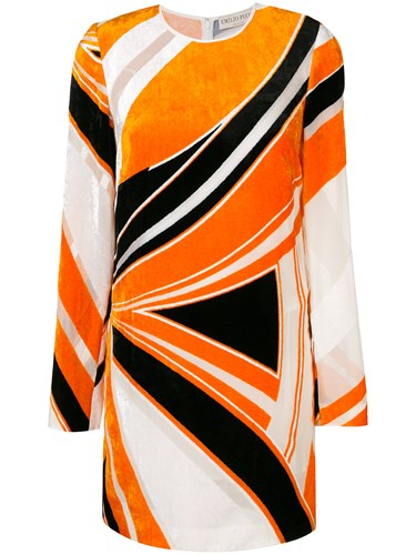 Emilio Pucci Velvet Abstract Print Dress Yellow And Orange 2Jp4T