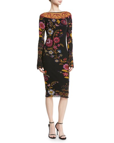 Fuzzi Fitted Long Sleeve Floral Print Dress Nero nmK9bE0L
