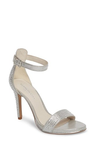 Kenneth Cole 'S New York 'Brooke' Ankle Strap Sandal Silver Microsuede gKyKWT