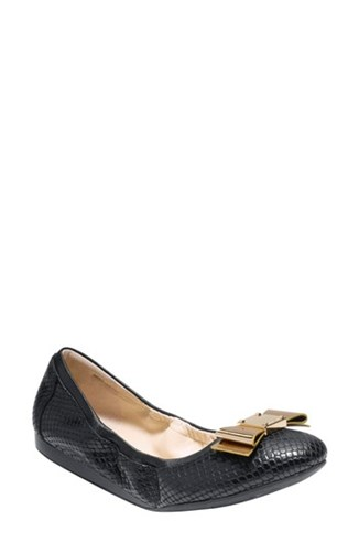 Cole Haan Women's 'Tali' Bow Ballet Flat Black Snake Print Leather d51KtSSx