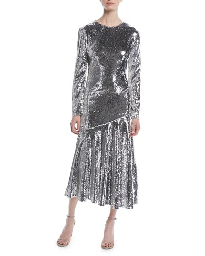 Racil Long Sleeve Jewel Neck Ankle Length Sequin Evening Gown Silver 79n2Q1