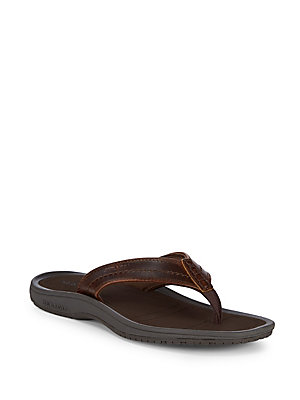 Sebago Leather Thong Sandals Brown Oile GupAqT03