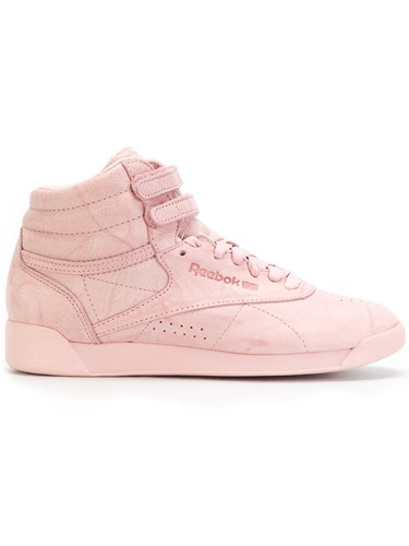Reebok Freestyle Hi Fbt Sneakers Cotton Leather Rubber 9.5 Pink Purple 77IcX3