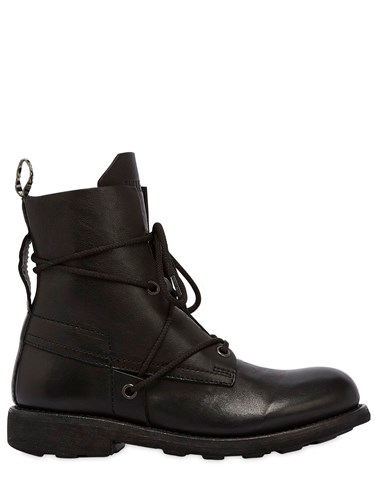 Bikkembergs 20Mm Low Washed Leather Boots Black Zz5y480W