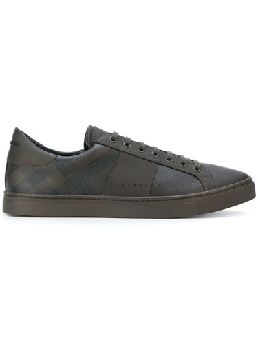 Burberry Sneakers Brown Rubber Check Leather Suede Calf Detail Leather rOExgrw