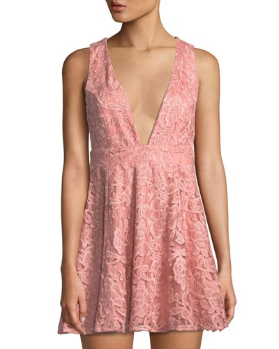 NBD Flare And Fit Dress Floral Pink Crochet w0q74