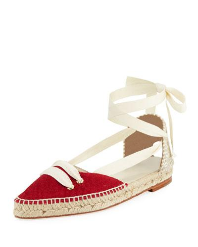 Up Cream x Espadrille Lace Red Manolo Blahnik Tone Flat Two Castaner xzBXqSwq