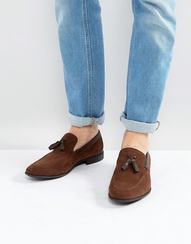 Asos Loafers In Brown Faux Suede With Tassel Brown tcSwuKd