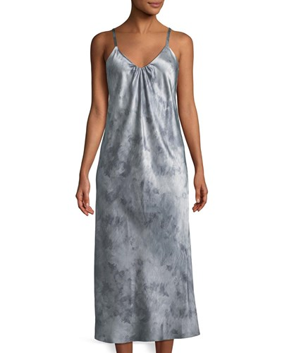 Camisole Watercolor Dress Vince Shirred Neck Gray Marble apxxngIf