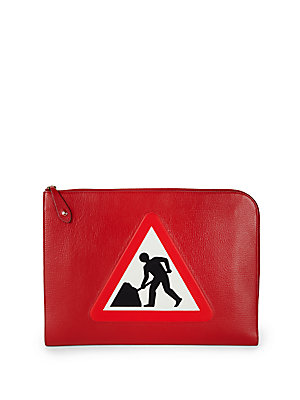 Anya Hindmarch Patch Leather Document Case Red l9r9Io
