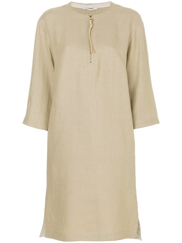 Agnona Tie Neck Dress Silk Linen Flax Polyamide Sheep Skin Shearling Nude Neutrals lFlEH1ob