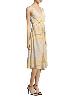 Derek Lam Pleated Wrap Silk Dress Marigold trmrCX