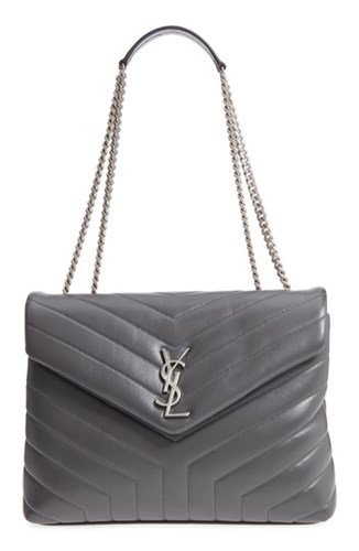 Saint Laurent Medium Loulou Calfskin Leather Shoulder Bag Grey Storm Storm IQ06zJ