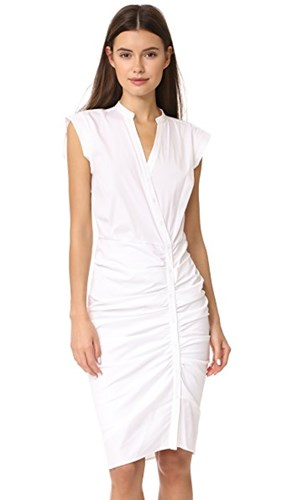 Veronica Beard Long Ruched Dress White uSSEooV