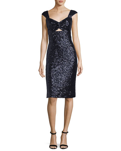 Milly Kim Sleeveless Sweetheart Neck Sequined Cocktail Dress Navy 1daVy6gLyv