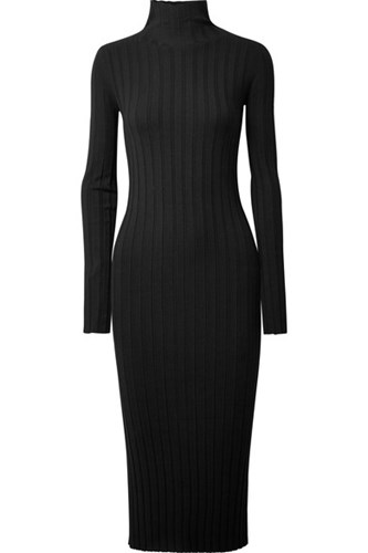 Theory Ribbed Knit Turtleneck Midi Dress Black SlYPW5C73