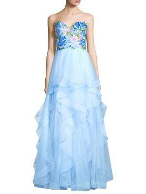 Basix Black Label Strapless Embroidered Gown Soft Blue Dd71tgC2