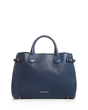 Burberry Banner House Check Medium Leather Tote Ink Blue Gold 1k7yZaS42