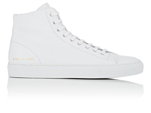 Common Projects Men's Tournament Leather Sneakers White Xix8xreo