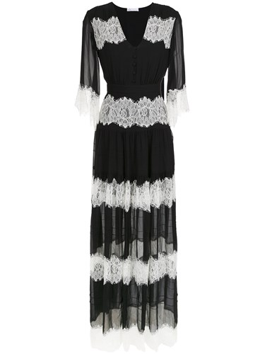 SpaceNK Nk Lace Silk Long Dress Black I18VnsiGY