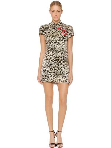 DE LA VALI Suki Leopard Print Satin Dress Multicolor ZTJLD19qQm