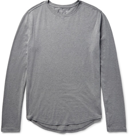 Highline Tretch Cotton And Cahmere Blend Jerey T Hirt Gray