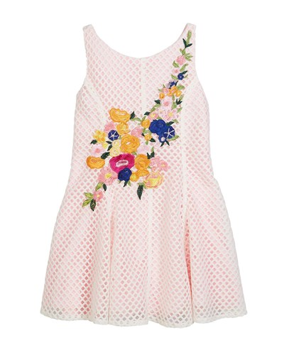 Zoe Netted Floral Embroidered Dress Size 7 16 Pink rIadfG