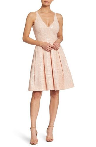 Dress the Population Collette Sequin Fit And Flare Pink Nude 85i9frC