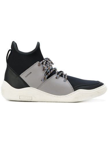 Lanvin Hi Top Diving Sneakers Calf Leather Leather Polyamide Rubber Black E8TewF
