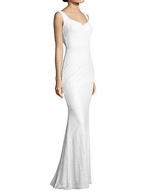 Badgley Mischka Sequined Cowl Back Gown White 6daIKstHf