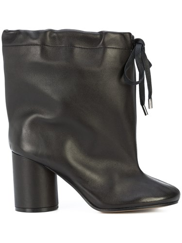 Maison Martin Margiela Drawstring Ankle Boots Calf Leather Black E6BDWw3b2R