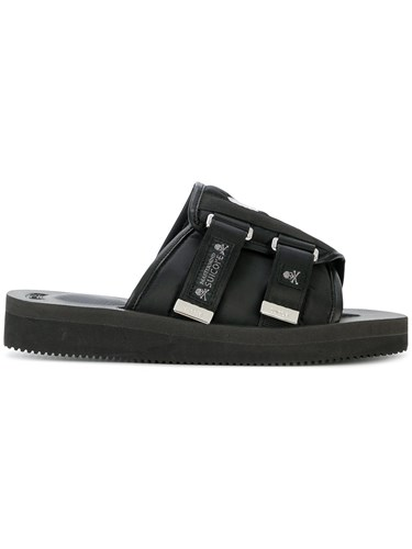 Suicoke Skull Print Open Toe Sandals Black WbxPX5VB