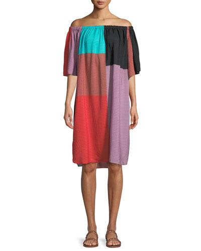 Mara Hoffman Lula Tonal Striped Colorblock Coverup Dress Black nCDScZsO30